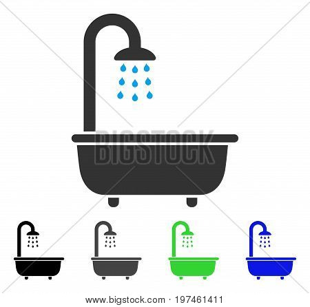 Bath Shower flat vector pictogram. Colored bath shower gray black blue green icon versions. Flat icon style for graphic design.