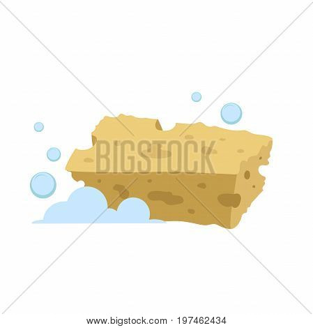 Vector cartoon flat style yellow rectangular sponge vector icon. Blue bubbles. Stylized bath and kitchen clearing accessories isolated on white background.