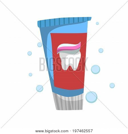 Trendy cartoon style fresh mint toothpaste standing tube. Every day hygiene and dental care vector illustration.