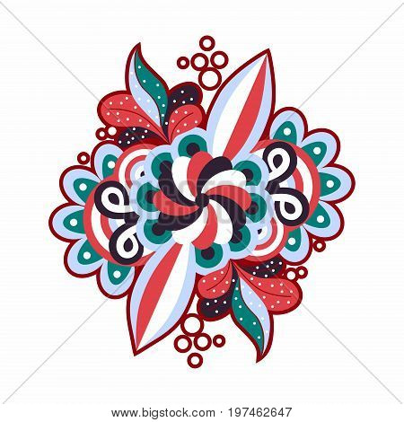 Abstract floral pattern. Simple geometric shapes, reminiscent of vegetation flowers, leaves