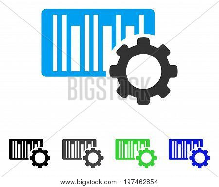 Bar Code Settings flat vector icon. Colored bar code settings gray, black, blue, green icon variants. Flat icon style for web design.