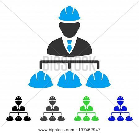 Builder Management flat vector pictogram. Colored builder management gray, black, blue, green pictogram versions. Flat icon style for application design.