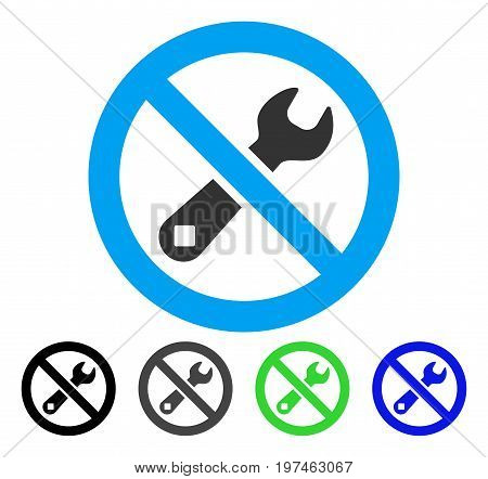 Forbidden Repair flat vector pictogram. Colored forbidden repair gray, black, blue, green pictogram versions. Flat icon style for application design.