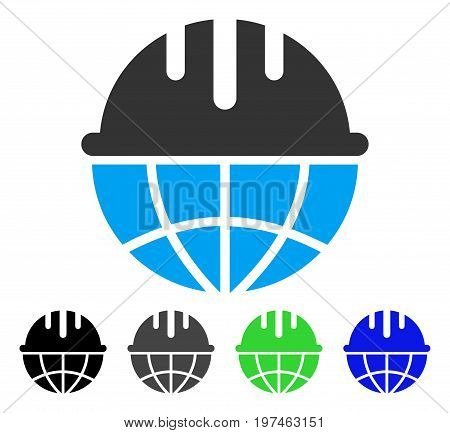 Global Safety Helmet flat vector illustration. Colored global safety helmet gray, black, blue, green pictogram versions. Flat icon style for graphic design.
