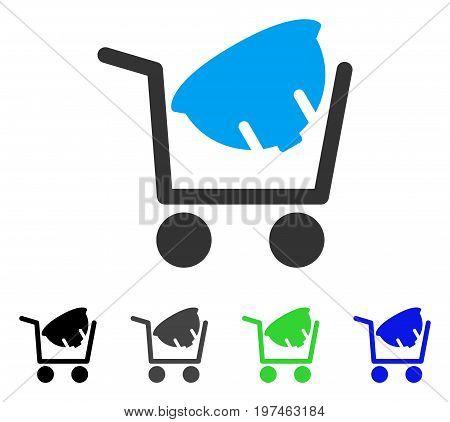 Helmet Shopping flat vector illustration. Colored helmet shopping gray, black, blue, green icon variants. Flat icon style for web design.