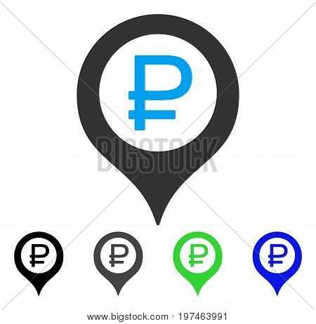 Rouble Bank Marker flat vector illustration. Colored rouble bank marker gray, black, blue, green pictogram versions. Flat icon style for graphic design.