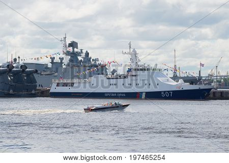 RUSSIA, SAINT PETERSBURG - JULY 02, 2017: Frontier guard ship