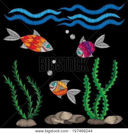 Colorful little fish under water embroidery stitches imitation on the black background. Embroidery fish with wave for logo label emblem sign poster t-shirt print. Vector embroidery illustration.