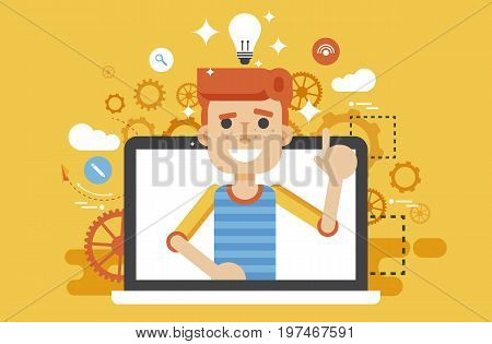 Stock vector illustration man with idea, lamp light bulb above head and index finger up design element for solution, service business online help presentation startup flat style yellow background icon