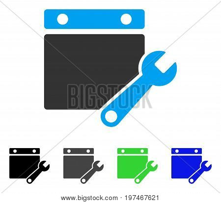 Calendar Tuning flat vector pictogram. Colored calendar tuning gray, black, blue, green pictogram variants. Flat icon style for application design.