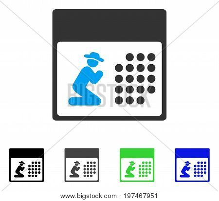 Pray Calendar flat vector pictogram. Colored pray calendar gray, black, blue, green pictogram versions. Flat icon style for application design.