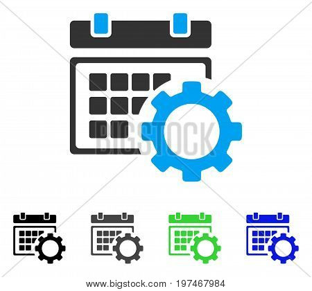 Schedule Options flat vector icon. Colored schedule options gray, black, blue, green pictogram versions. Flat icon style for graphic design.