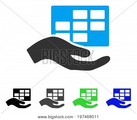 Service Schedule flat vector pictograph. Colored service schedule gray, black, blue, green icon variants. Flat icon style for application design.