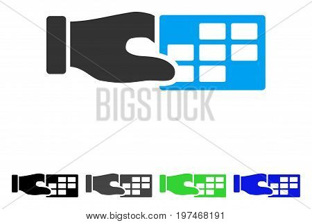 Timetable Properties flat vector icon. Colored timetable properties gray, black, blue, green icon variants. Flat icon style for graphic design.