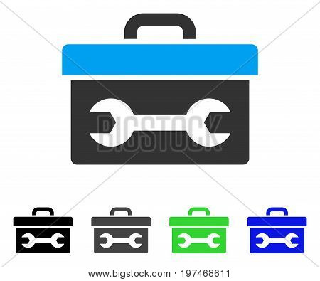 Toolbox flat vector pictogram. Colored toolbox gray, black, blue, green pictogram versions. Flat icon style for application design.