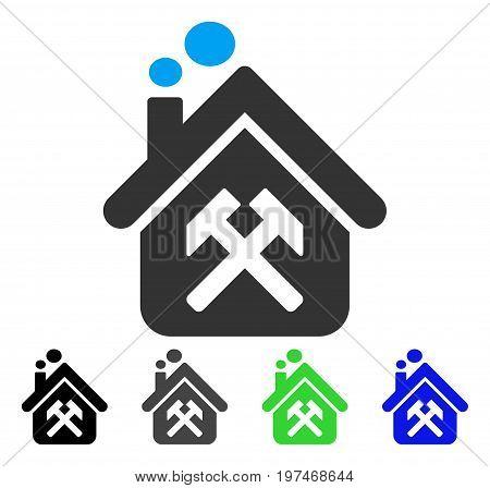 Workshop flat vector illustration. Colored workshop gray, black, blue, green pictogram variants. Flat icon style for web design.