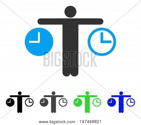 Compare Time flat vector pictograph. Colored compare time gray, black, blue, green icon versions. Flat icon style for application design.
