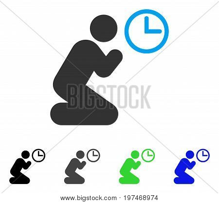 Pray Time flat vector pictogram. Colored pray time gray, black, blue, green icon versions. Flat icon style for web design.