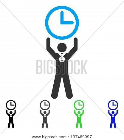 Time Champion flat vector illustration. Colored time champion gray, black, blue, green icon versions. Flat icon style for graphic design.