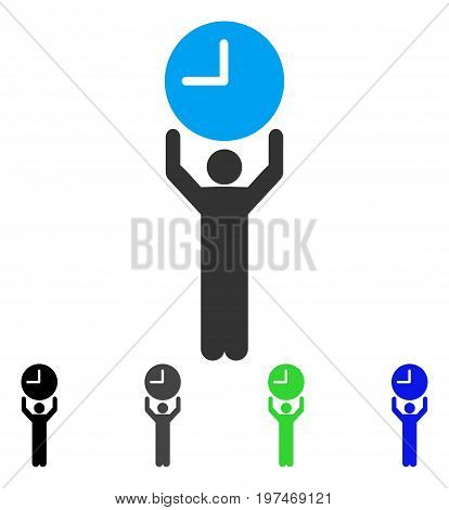 Time Manager flat vector icon. Colored time manager gray, black, blue, green pictogram variants. Flat icon style for application design.