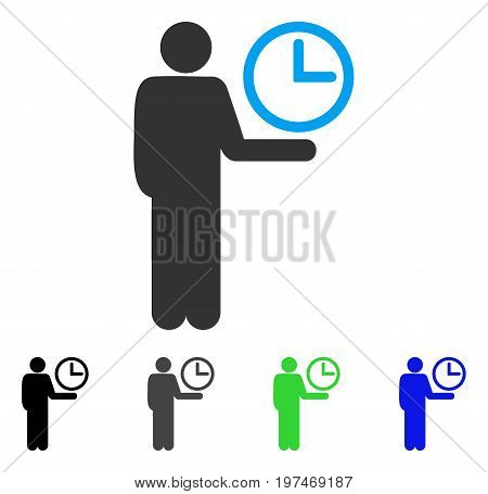 Waiter flat vector pictograph. Colored waiter gray, black, blue, green pictogram versions. Flat icon style for web design.