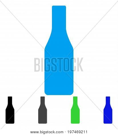 Beer Bottle flat vector illustration. Colored beer bottle gray, black, blue, green icon versions. Flat icon style for application design.