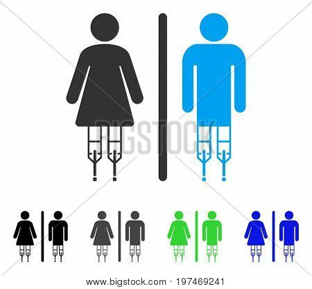 Disabled WC Persons flat vector illustration. Colored disabled wc persons gray, black, blue, green icon variants. Flat icon style for application design.