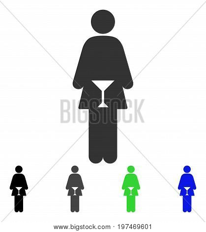 WC Woman flat vector illustration. Colored wc woman gray, black, blue, green pictogram versions. Flat icon style for web design.