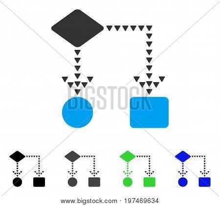 Algorithm Flowchart flat vector illustration. Colored algorithm flowchart gray, black, blue, green pictogram variants. Flat icon style for graphic design.