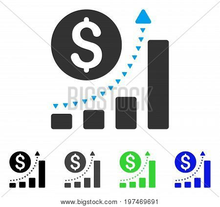 Business Bar Chart Positive Trend flat vector pictograph. Colored business bar chart positive trend gray, black, blue, green pictogram variants. Flat icon style for web design.