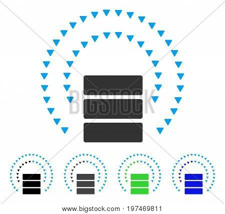 Database Sphere Shield flat vector pictograph. Colored database sphere shield gray, black, blue, green pictogram variants. Flat icon style for web design.