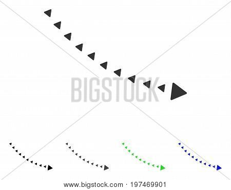 Dotted Decline Trend flat vector pictograph. Colored dotted decline trend gray, black, blue, green icon versions. Flat icon style for web design.