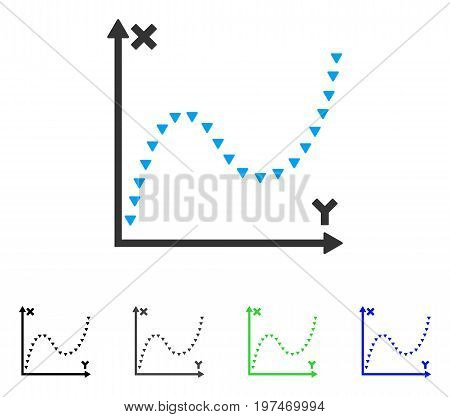 Dotted Function Graph flat vector icon. Colored dotted function graph gray, black, blue, green pictogram versions. Flat icon style for graphic design.