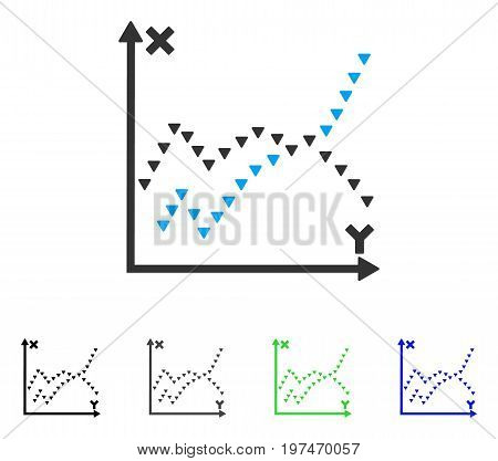 Dotted Functions Plot flat vector pictogram. Colored dotted functions plot gray, black, blue, green icon variants. Flat icon style for application design.