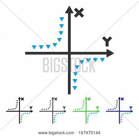 Dotted Hyperbola Plot flat vector illustration. Colored dotted hyperbola plot gray, black, blue, green icon versions. Flat icon style for application design.