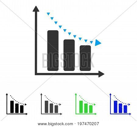 Dotted Negative Trend flat vector pictogram. Colored dotted negative trend gray, black, blue, green pictogram versions. Flat icon style for web design.