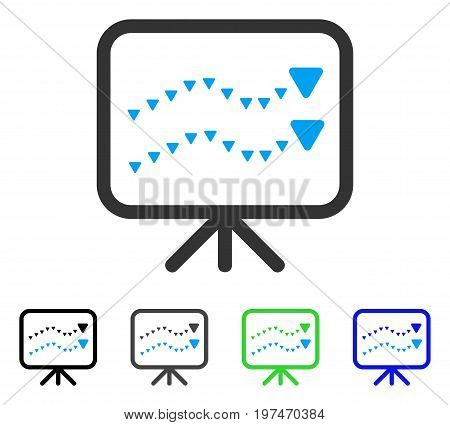 Dotted Trends Board flat vector icon. Colored dotted trends board gray, black, blue, green pictogram variants. Flat icon style for application design.