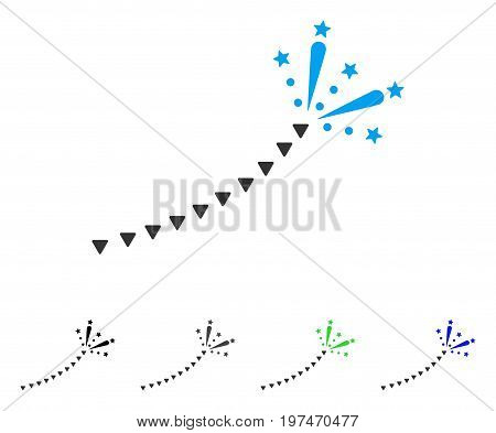 Fireworks Trace flat vector icon. Colored fireworks trace gray, black, blue, green icon variants. Flat icon style for application design.