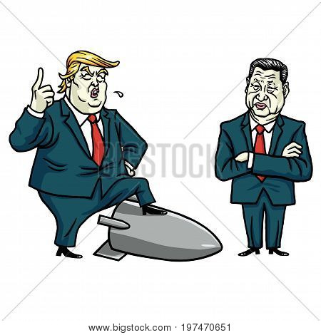 Donald Trump and Xi Jinping. Cartoon Vector Illustration Drawing. July 29, 2017