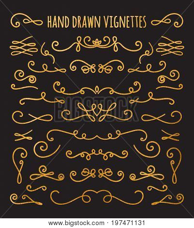 Set of gold textured hand drawn vignettes on black background. Elegant vintage calligraphic borders and dividers for greeting card, retro party, wedding invitation. Vector illustration.