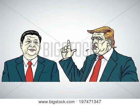 Donald Trump and Xi Jinping Portrait. USA and China. Cartoon Vector Illustration Drawing. July 29, 2017
