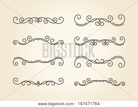 Set of hand drawn vignettes with editable stroke in retro style. Elegant vintage calligraphic borders and dividers for greeting card, retro party, wedding invitation. Vector illustration.