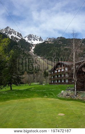CHAMONIX-MONT-BLANC FRANCE - APRIL 20 2016: Panoramic view of Chamonix in french Alps Chamonix is one of the oldest ski resorts in France