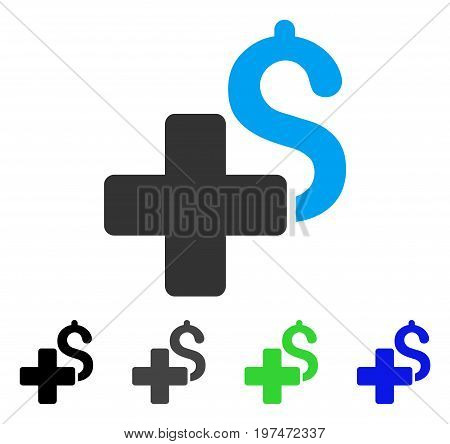 Add Dollar flat vector pictogram. Colored add dollar gray, black, blue, green icon variants. Flat icon style for web design.