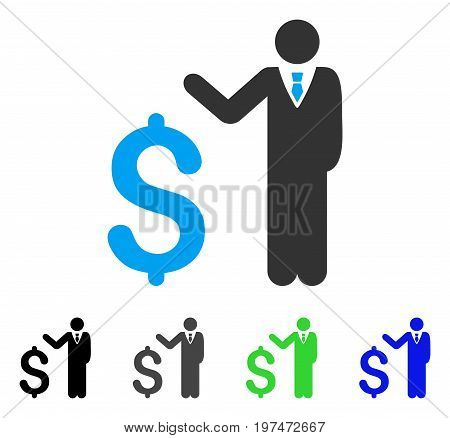 Banker flat vector pictogram. Colored banker gray, black, blue, green icon versions. Flat icon style for graphic design.