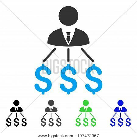 Businessman Expenses flat vector pictogram. Colored businessman expenses gray, black, blue, green icon versions. Flat icon style for application design.