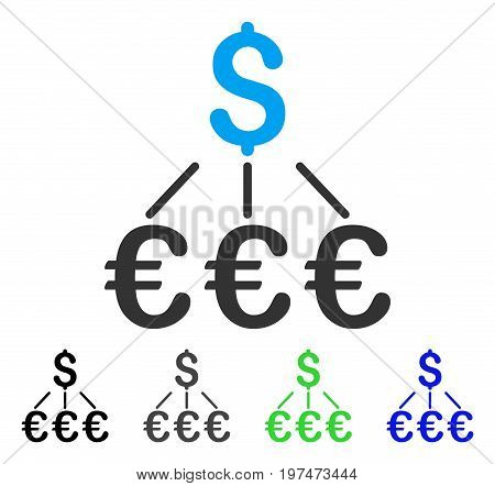 Dollar Euro Links flat vector pictogram. Colored dollar euro links gray, black, blue, green pictogram variants. Flat icon style for application design.