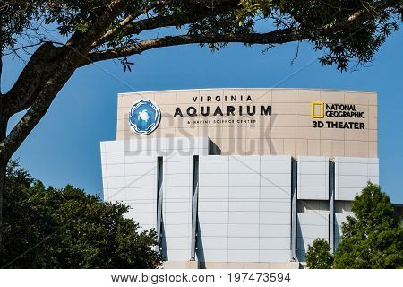 VIRGINIA BEACH, VIRGINIA - JULY 13, 2017:  The Virginia Aquarium & Marine Science Center, an aquarium and marine science museum with over 800,000 gallons of aquariums and animal habitats.