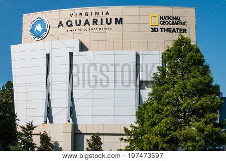 VIRGINIA BEACH, VIRGINIA - JULY 13, 2017:  The Virginia Aquarium & Marine Science Center, with over 800,000 gallons of aquariums and live animal habitats with a focus on Virginia's marine environment.