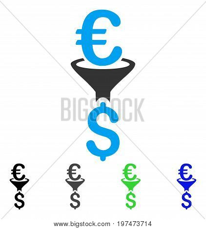 Euro Dollar Conversion Filter flat vector icon. Colored euro dollar conversion filter gray, black, blue, green pictogram versions. Flat icon style for graphic design.
